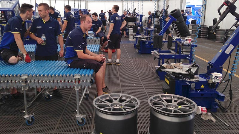 """Illustration for article titled At Le Mans, """"God help the team that loses"""" a Michelin tire"""