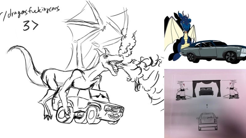Illustration for article titled These Hand Drawn Pictures Of Dragons Fucking Cars Are Uncomfortably Great