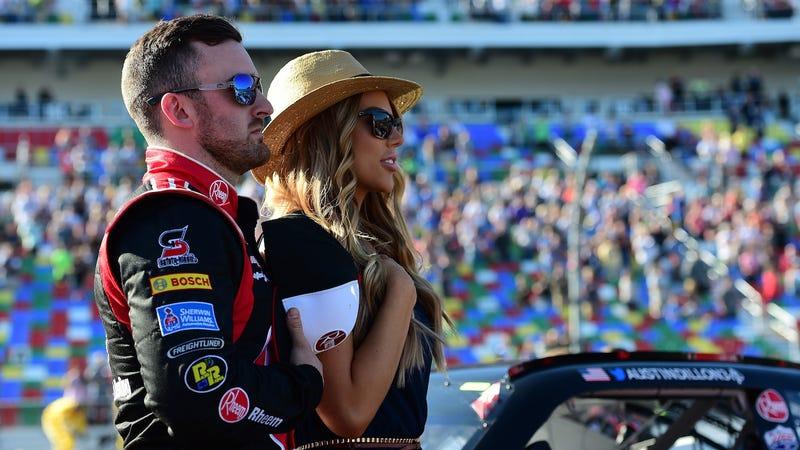 Austin Dillon and wife Whitney Dillon at Daytona International Speedway.