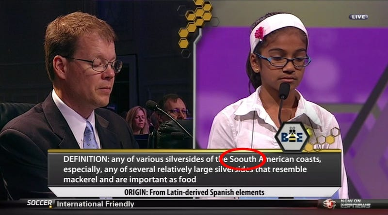 Illustration for article titled ESPN Misspells Simple Word In Spelling Bee Graphic