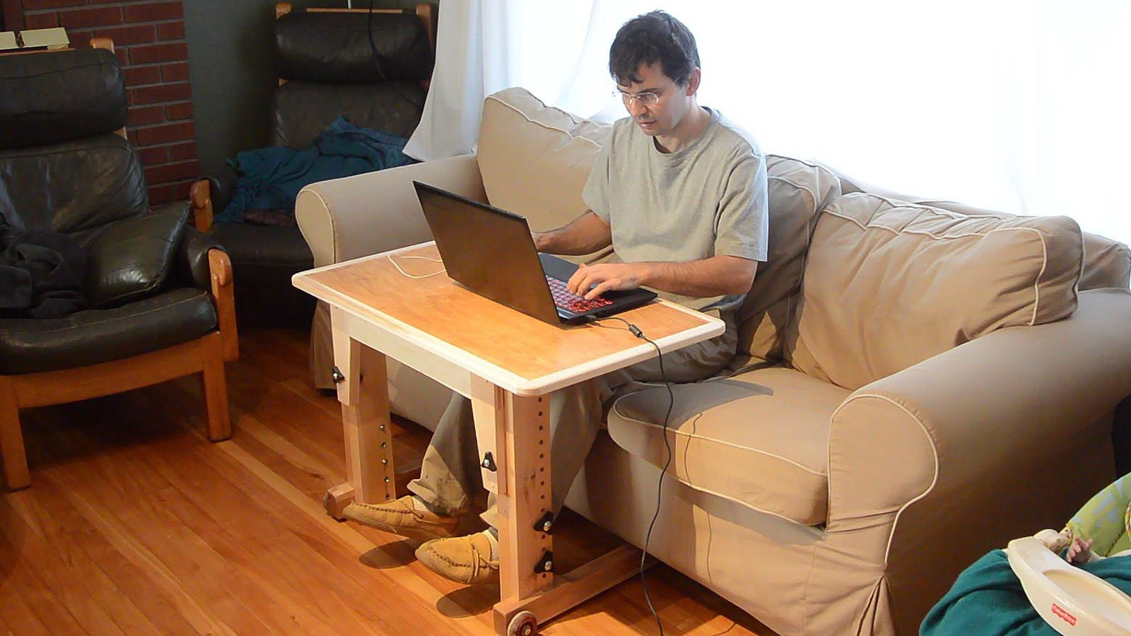 Build A Laptop Table For Sitting At The Couch That Converts To Standing Desk