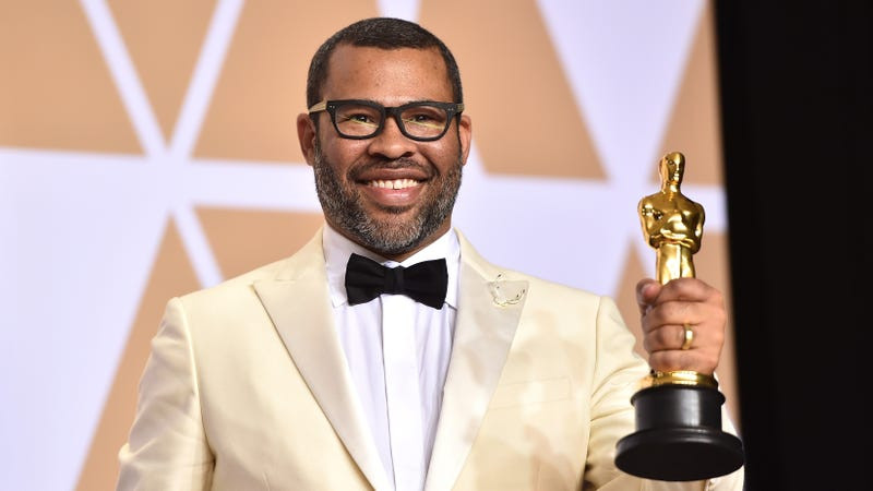 Jordan Peele, winner of the Oscar for Best Original Screenplay for Get Out, poses in the press room at the Oscars on March 4, 2018, in Hollywood, Calif.