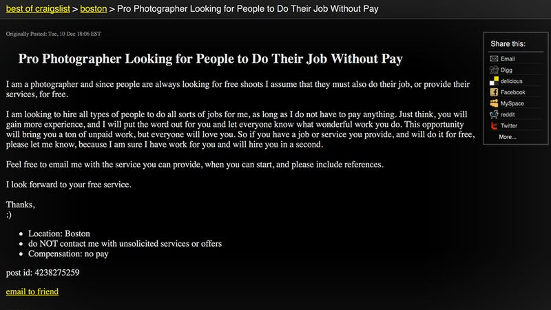Illustration for article titled Pro photographer looking for people to do their job without pay