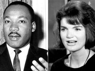 Martin Luther King Jr; Jacqueline Kennedy (William H. Alden; CBS Photo Archive/Getty)