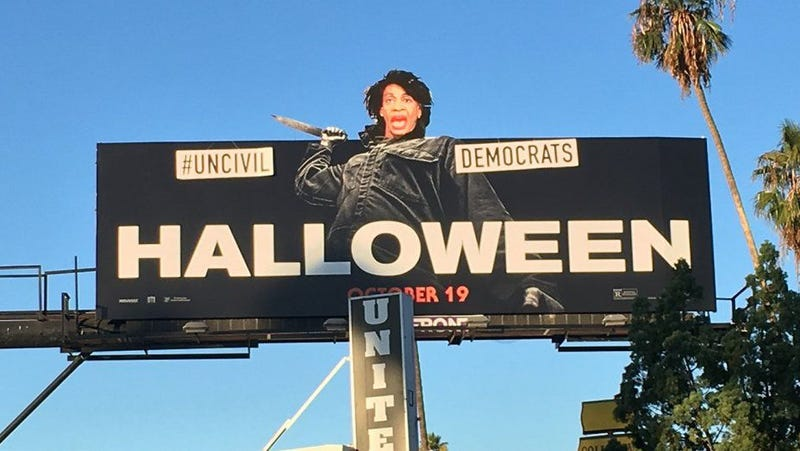 GOP street artist Sabo added Maxine Waters' face to a Los Angeles billboard advertising the movie Halloween