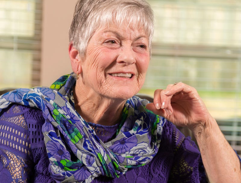 70 year old woman decides it time to start dressing entirely in purple