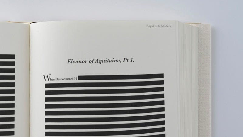 A book with a bunch of redacted pages.