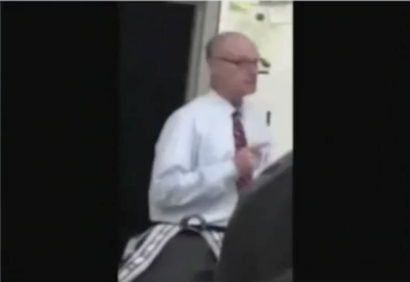 Rockdale Career Academy teacher Paul Hagan, who was caught on cellphone video apparently threatening a student (WSB-TV screenshot)