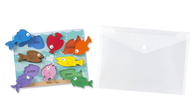 Illustration for article titled Store Your Toddler's Peg Puzzles in Clear Poly Envelopes