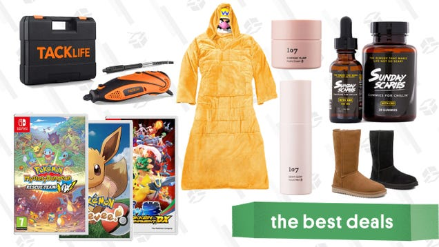 Monday s Best Deals: Pokémon Switch Games, Weighted Snuggie Blanket, 107 Beauty Probiotic Set, Sunday Scaries CBD, Tacklife Rotary Tool, Massage Gun, and More