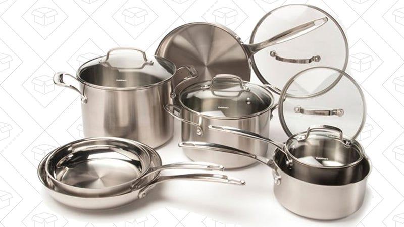 Cuisinart 12-Piece Stainless Steel Cookware Set, $130