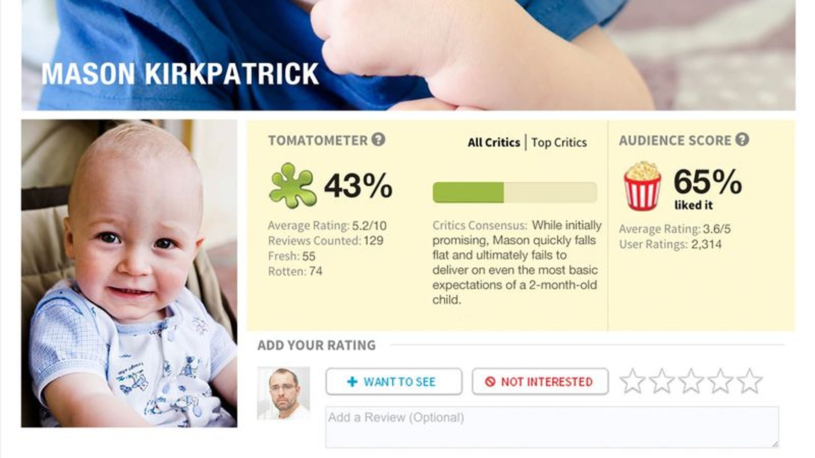 My Infant Son Has A 43% On Rotten Tomatoes  Does Anyone Know