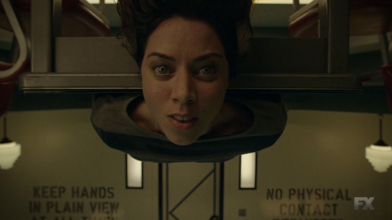 Lenny Busker (Aubrey Plaza) in an interesting Division 3 interrogation room.