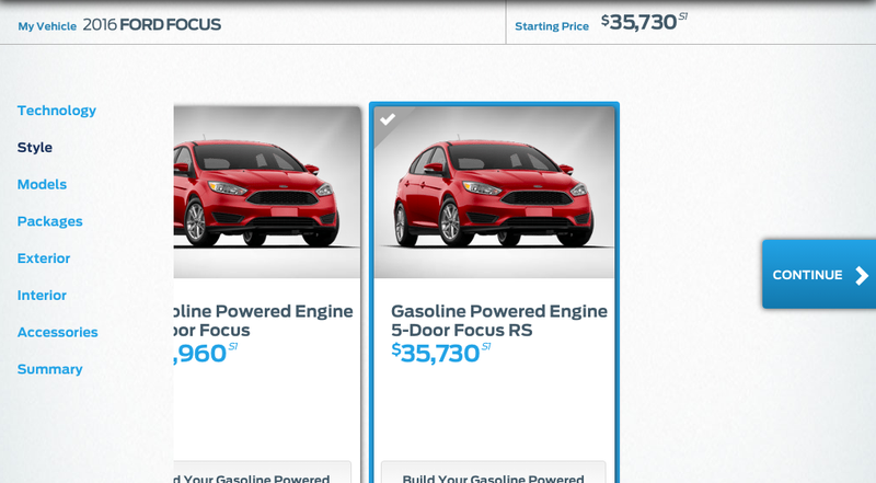 Illustration for article titled Leaked Configurator Maybe Reveals 2016 Ford Focus RS Price: $35,730
