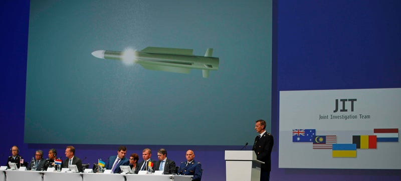 Wilbert Paulissen of the Joint Investigation Team speaks on the preliminary results of the investigation into the shooting-down of MH17. (AP Photo/Peter Dejong)