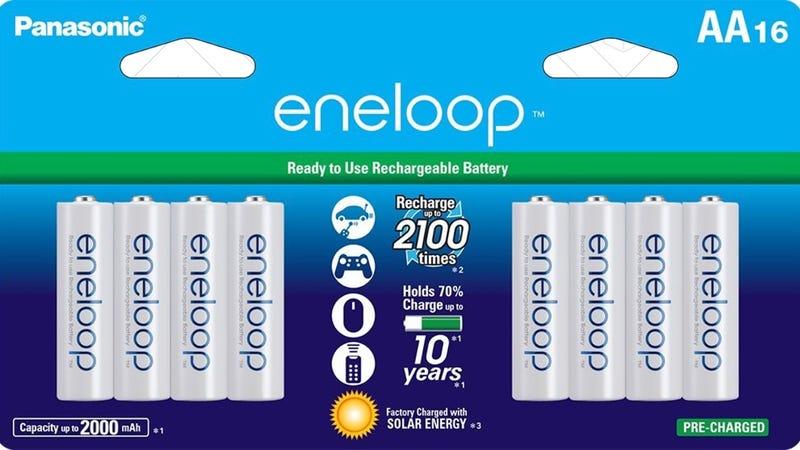 16-Pack Eneloop AAs, $31 | 8-Pack, $16