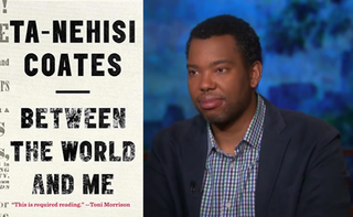 Cover of Between the World and Me; screenshot of Ta-Nehisi Coates on Moyers & Company May 21, 2014Spiegel & Grau; Moyers & Company/PBS