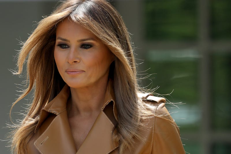 First lady Melania Trump arrives in the Rose Garden at the White House on May 7, 2018, in Washington, D.C.