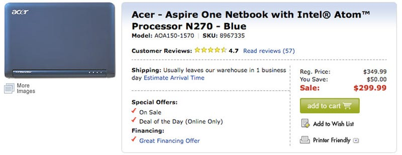 Illustration for article titled Dealzmodo: $300 Acer Aspire One Today Only