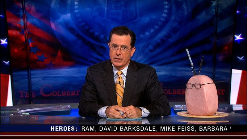 Illustration for article titled Here's everything Stephen Colbert has pulled from under his Colbert Report desk