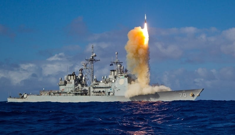 Guided missile cruiser USS Lake Erie launching SM-3 ballistic missile interceptor, 2013.