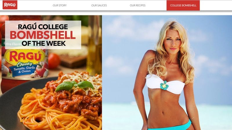 The Ragu website featuring the 'College Bombshell Of The Week'