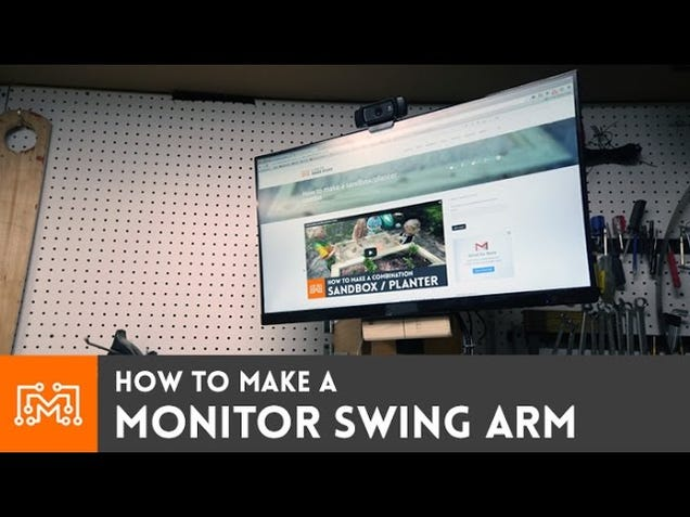 This DIY Wall-Mounted Swing Arm Keeps Your TV or Monitor Off the Bench