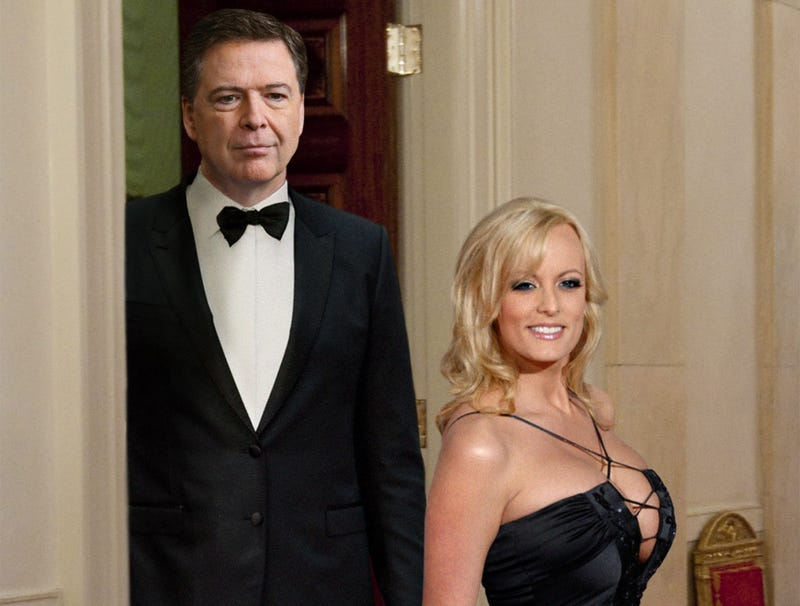 Illustration for article titled Stormy Daniels, James Comey Arrive At White House For State Dinner