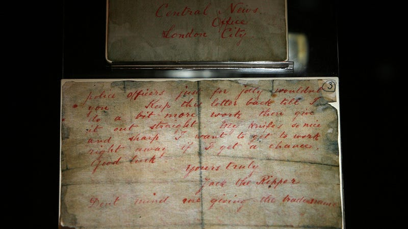 "A letter from ""Jack the Ripper"" on display at a 2008 museum exhibit. Photo via AP Images."