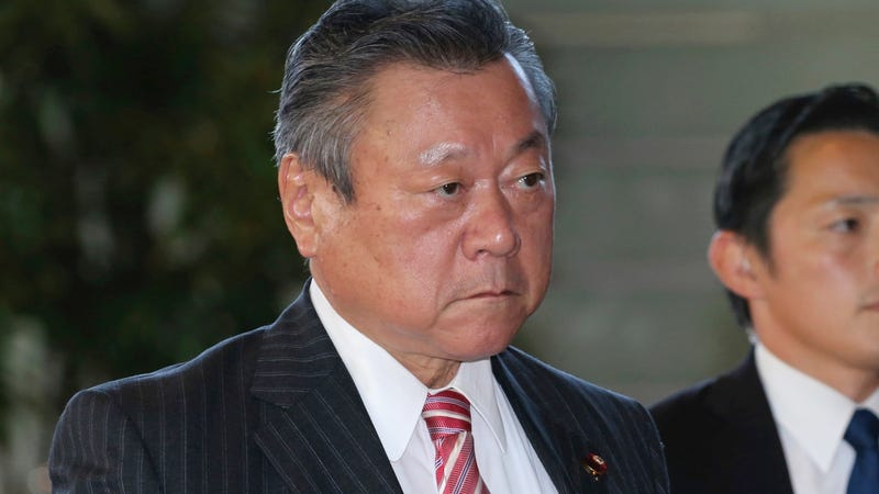 Japan's new head of cybersecurity, Yoshitaka Sakurada, arrives at the prime minister's official residence in Tokyo on October 2, 2018