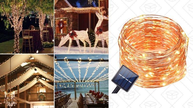 Tiras de luces Oak Leaf con paneles solares | $6 | Amazon | Usa el código VG3NRFPK