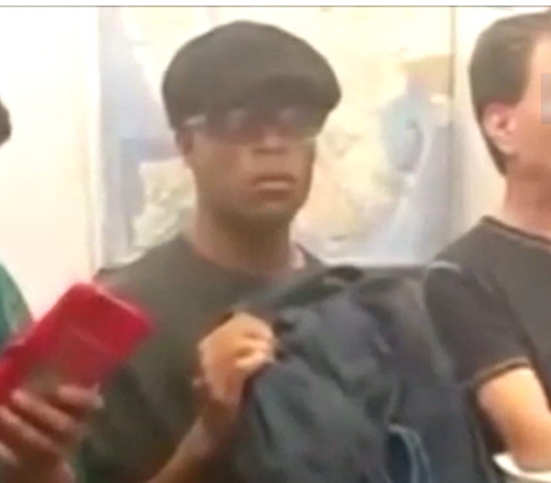 Prosecutors say this man, seen in a viral video being berated for public masturbation on a New York City subway train and identified by police as Kevin Cuffe, has been caught in the same act before.YouTube screenshot