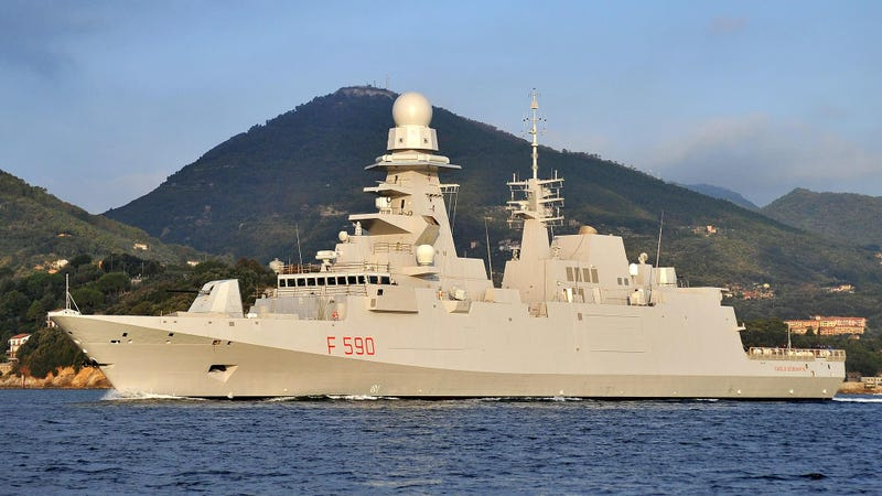 The Italian Frigate Carlo Bergamini. The ship is an example of the European FREMM-class frigates and the basis of shipbuilder Fincantieri's entry in the FFG(X) competition.