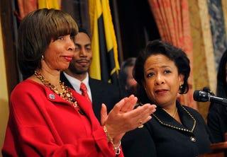 Baltimore Mayor Catherine E. Pugh (left) with then-U.S. Attorney General Loretta E. Lynch on Jan. 12, 2017 (Lloyd Fox/Baltimore Sun/TNS via Getty Images)