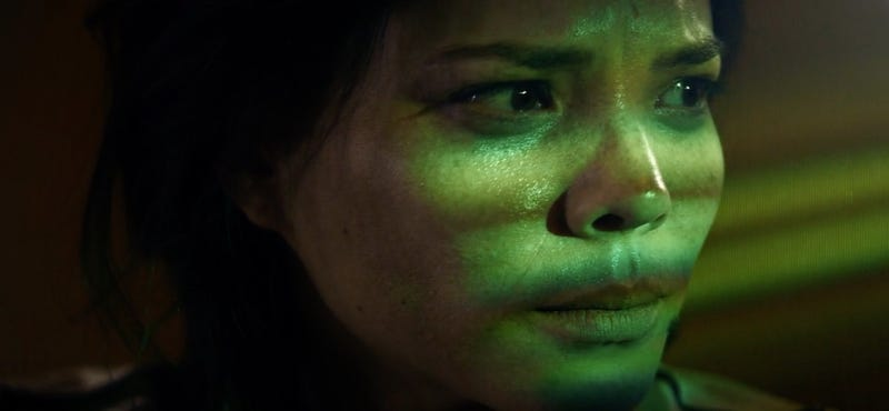 An astronaut (Jeananne Goossen) realizes mechanical troubles are the least of her worries in Hyperlight.