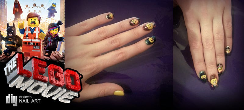 Illustration for article titled DIY: The LEGO Movie nail art