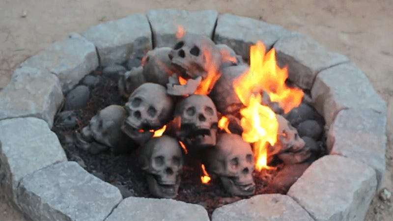 photo image A Flaming Pile of Skulls Is the Perfect Backyard Accessory for 2017