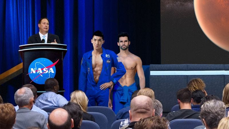 Among other tests, the two astronauts will investigate whether the negligible atmospheric pressure on Mars will allow erections to remain rock-hard for longer periods of time.