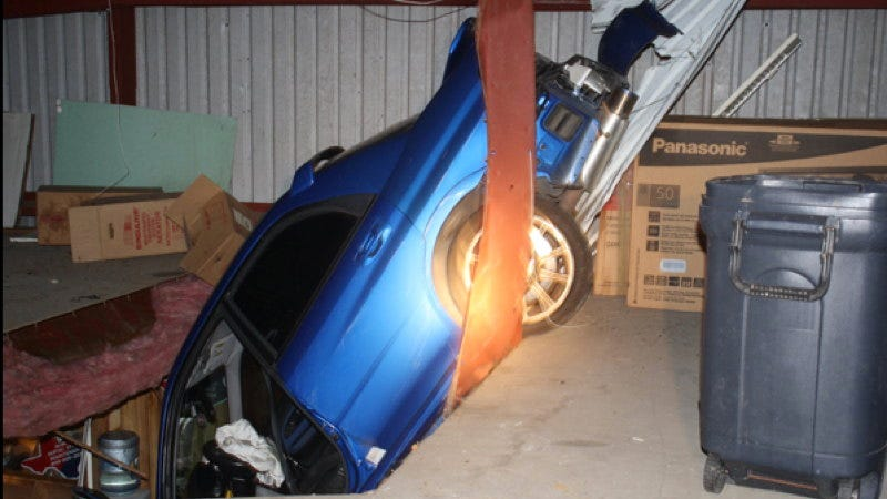 Illustration for article titled This Subaru STI flew 100 feet into a building
