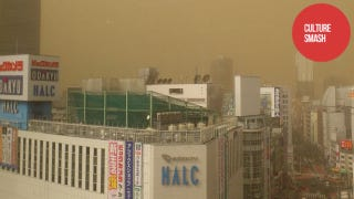 Illustration for article titled Sand, Smog, or Something Covered Japan in a Yellow Haze
