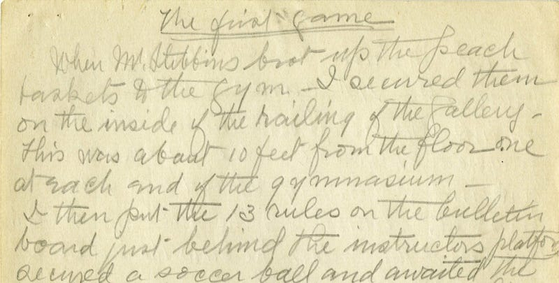 Illustration for article titled James Naismith's Handwritten Notes On The First Basketball Game