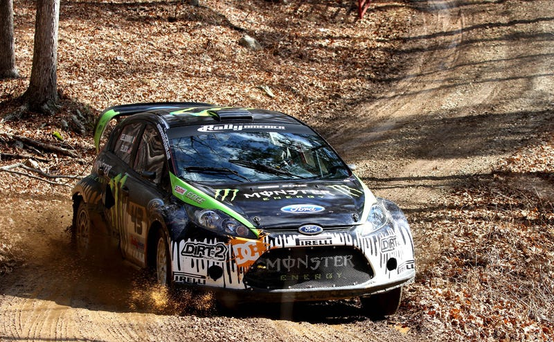 Illustration for article titled Ken Block Goes Slideways Warming Up For 100 Acre Woods Rally
