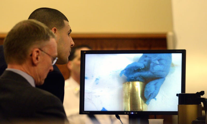 Illustration for article titled Aaron Hernandez's Defense Revolves Around That Piece Of Blue Gum