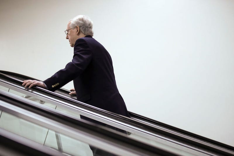Senate Majority Leader Mitch McConnell (R-KY) takes an escalator after a meeting with Secretary of State Mike Pompeo at the Sensitive Compartmented Information Facility (SCIF) at the U.S. Capitol.