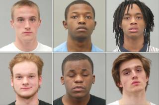 Landon Cremeens (top left), Caleb Hester (top center), Kerion James (top right), Nikolas Kebrdle (bottom left), Carlos Perkins (bottom center) and Matthew PetersonSt. Louis County Jail