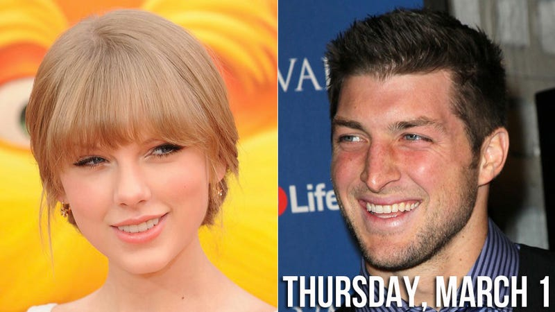 Illustration for article titled Tim Tebow Tackles Taylor Swift's Heart