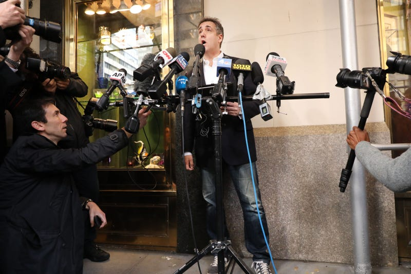 Michael Cohen, the former personal attorney to President Donald Trump, speaks to the media before departing his Manhattan apartment for prison on May 6, 2019 in New York City. Cohen is due to report to a federal prison in Otisville, New York, where he will begin serving a three-year sentence for campaign finance violations, tax evasion and other crimes.