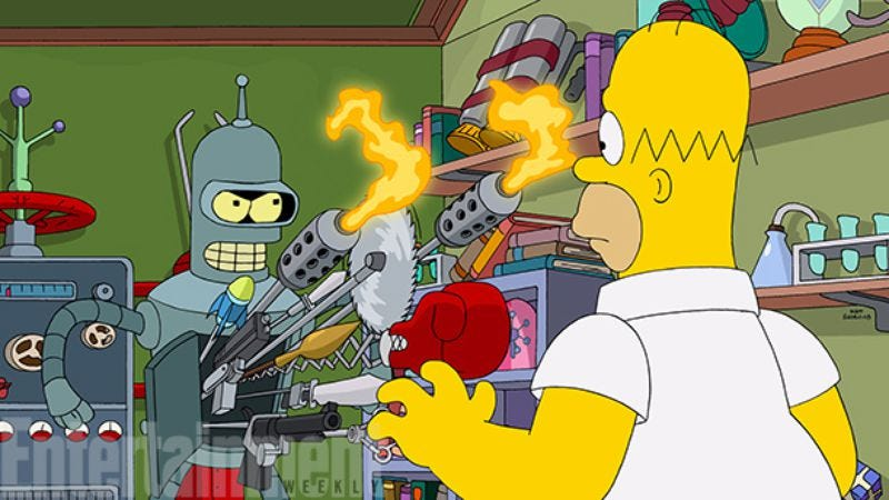 Illustration for article titled Here's the first look at that Simpsons/Futurama crossover