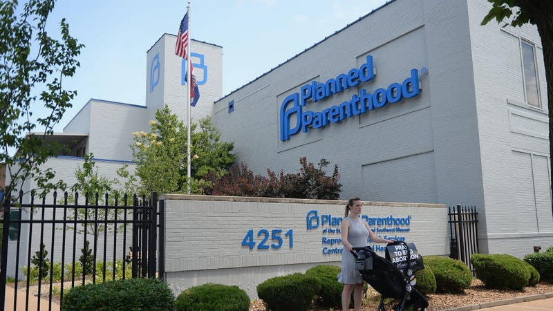 An anti-abortion protester outside the Planned Parenthood of St. Louis clinic, Missouri's lone abortion provider