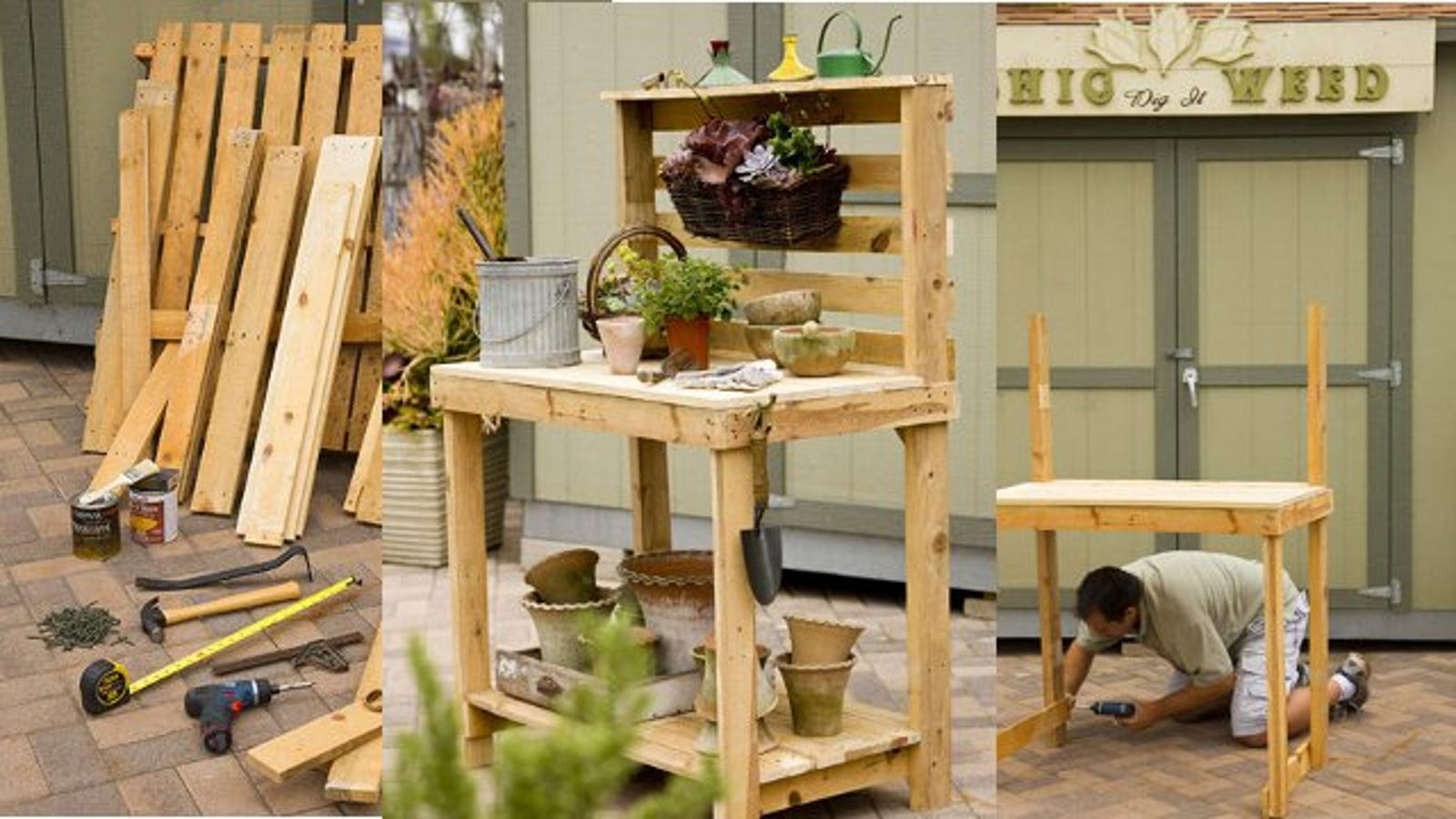 Swell Repurpose Wooden Pallets Into A Potting Bench Ibusinesslaw Wood Chair Design Ideas Ibusinesslaworg
